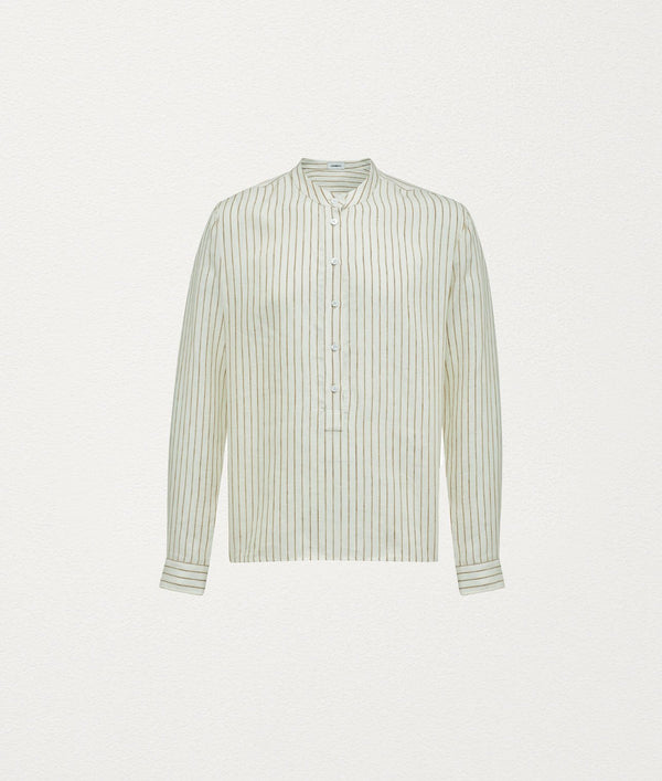 Creme Stripe Mandarin collar shirt - COMMAS