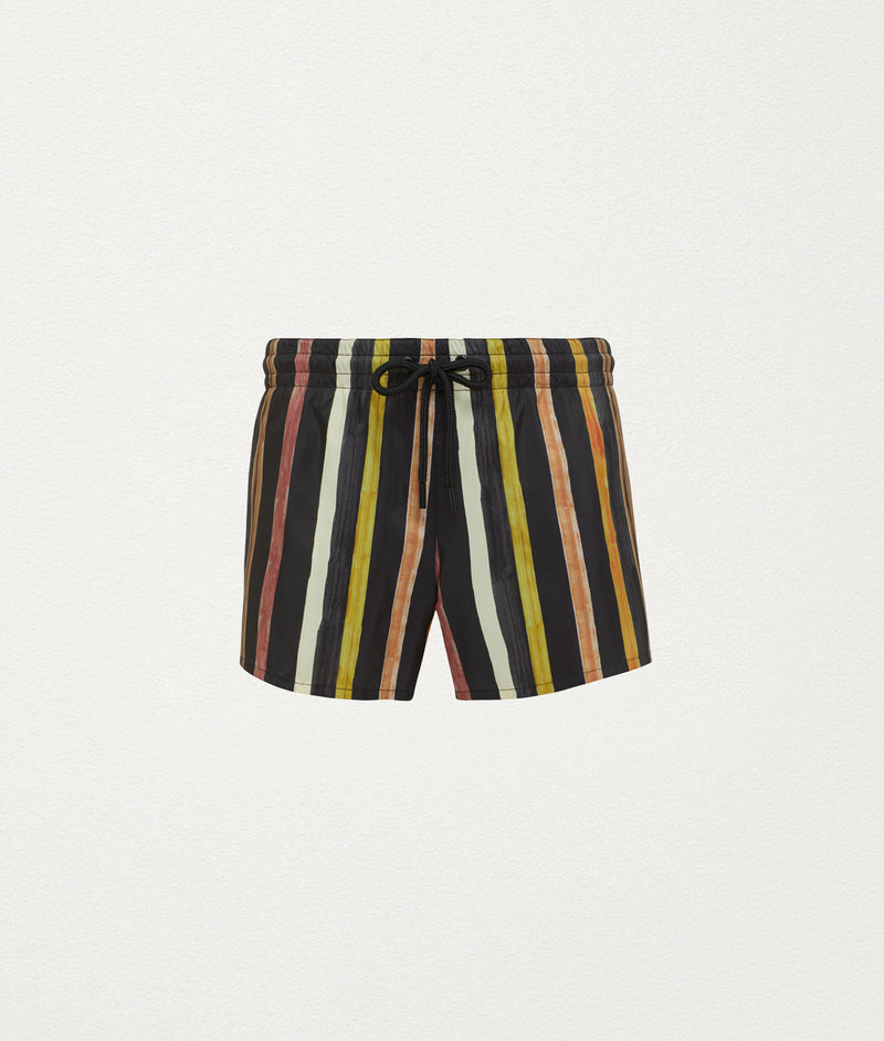 SOLAR STRIPE SHORT LENGTH SWIM SHORT - COMMAS