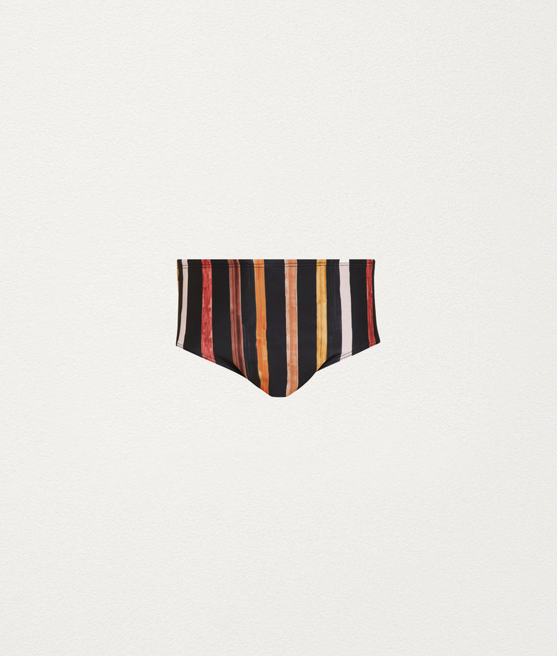 SOLAR STRIPE HIGH WAIST SWIM BRIEF - COMMAS