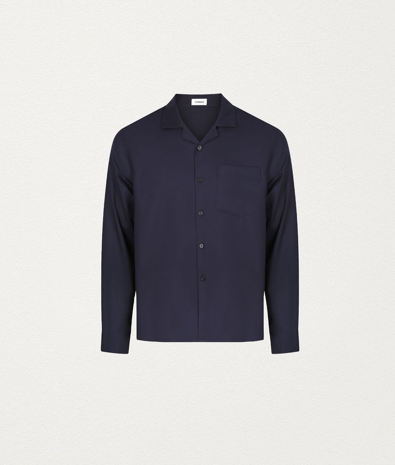 NAVY CAMP COLLAR SHIRT - COMMAS