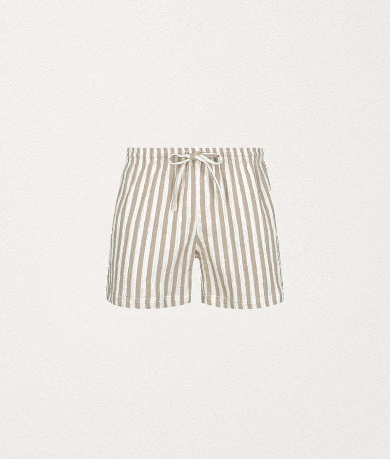 LATTE LINEN STRIPED SHORTS - COMMAS