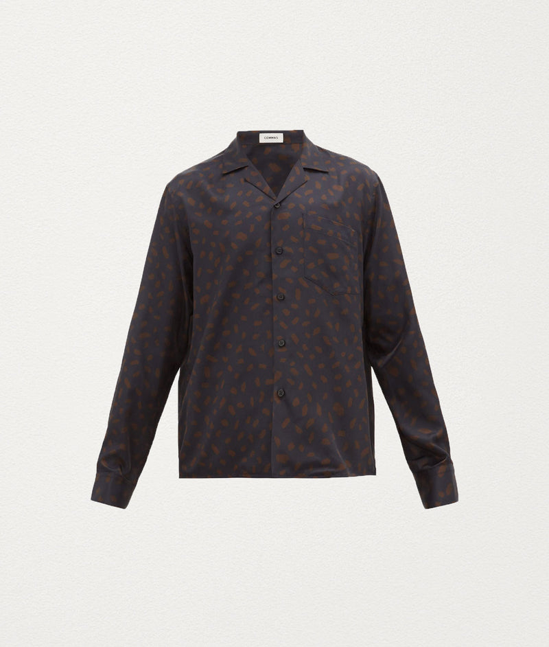 BLACK COGNAC Silk Shirt - COMMAS