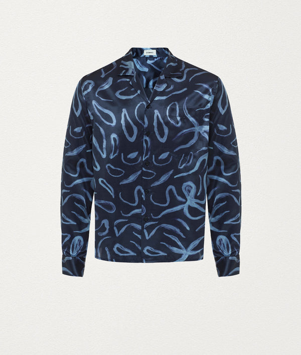 Octopus Midnight Camp Collar Silk Shirt - COMMAS