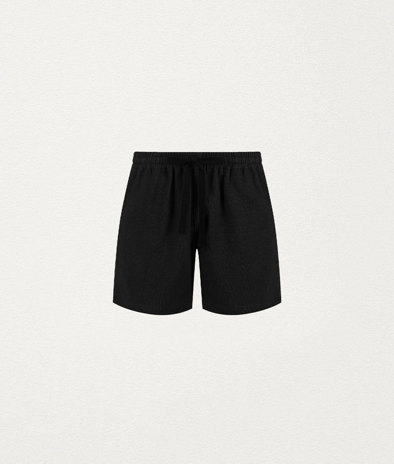 BLACK LINEN LOUNGE SHORT - COMMAS