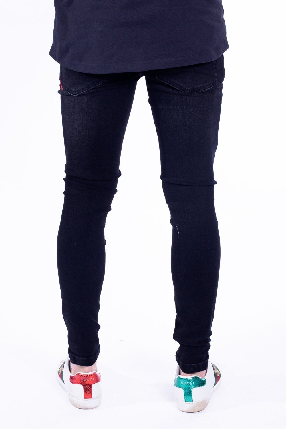 11 Degrees Super Stretch Distressed Skinny Jeans - Black