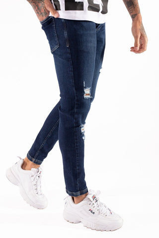 11 Degrees Super Stretch Distressed Skinny Jeans - Indigo Blue