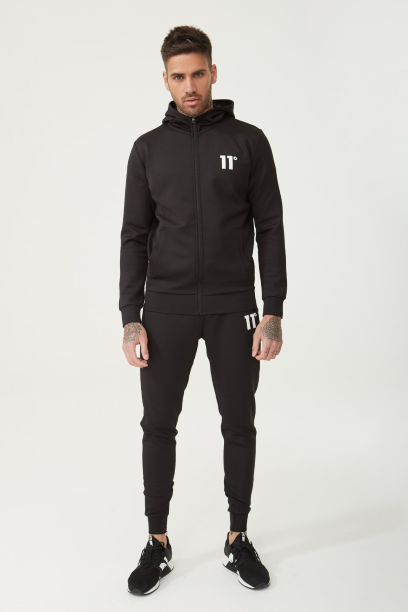 11 Degrees Core Full Zip Poly Track Top With Hood - Black