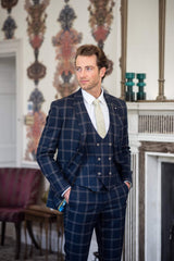 Navy Checked Three Piece Suit