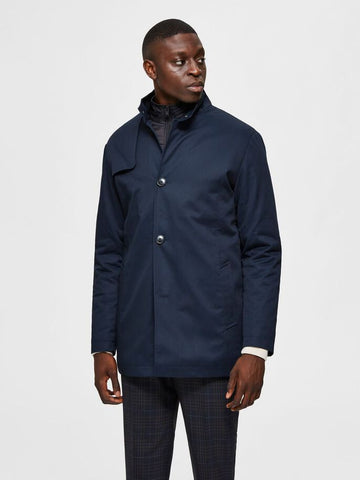 Selected Homme Stand Collar Coat - Navy