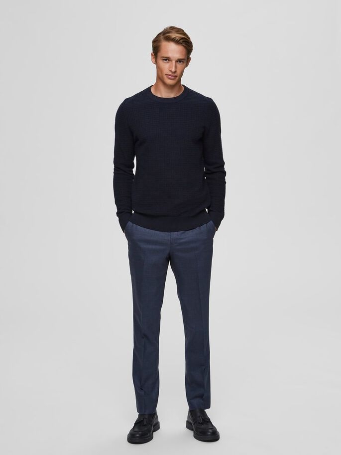 Selected Homme Textured Crew Neck Jumper - Navy