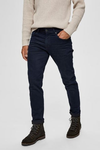 Selected Homme Super Stretch Straight Fit Jeans - Dark Blue