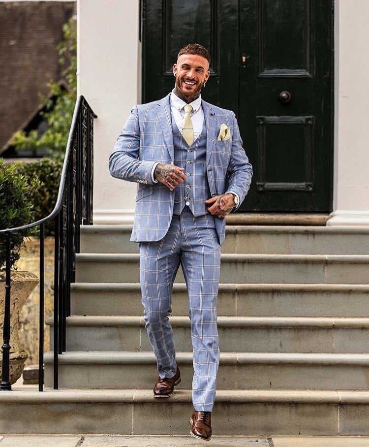 Bright Blue Bold Cream Check - Slim fit 3 piece Suit