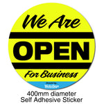 Covid-19 Open For Business Sticker 400mm Diameter