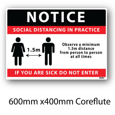 Covid-19 Social Distancing Coreflute Sign 600mm x 400mm