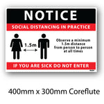 Covid-19 Social Distancing Coreflute Sign 400mm x 300mm