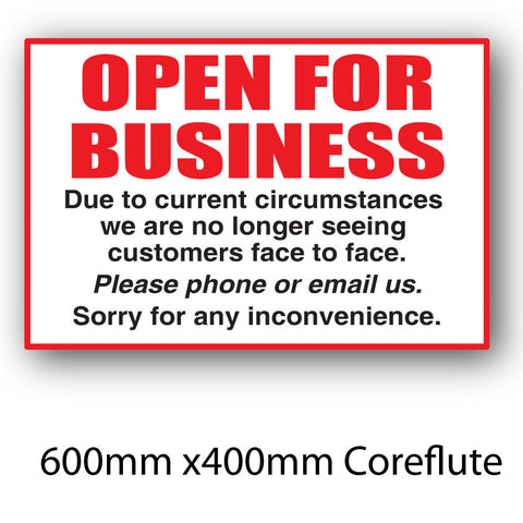 Covid-19 Open for Business Coreflute Sign 600mm x 400mm