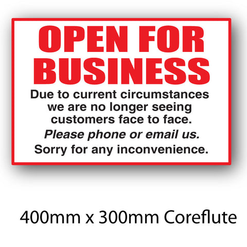 Covid-19 Open for Business Coreflute Sign 400mm x 300mm