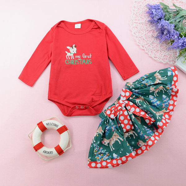 Baby Christmas Skirt Set