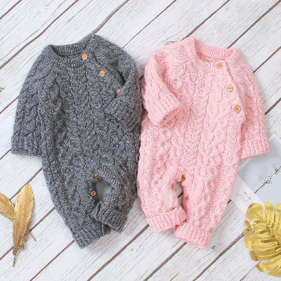Knitted solid baby jumpsuit
