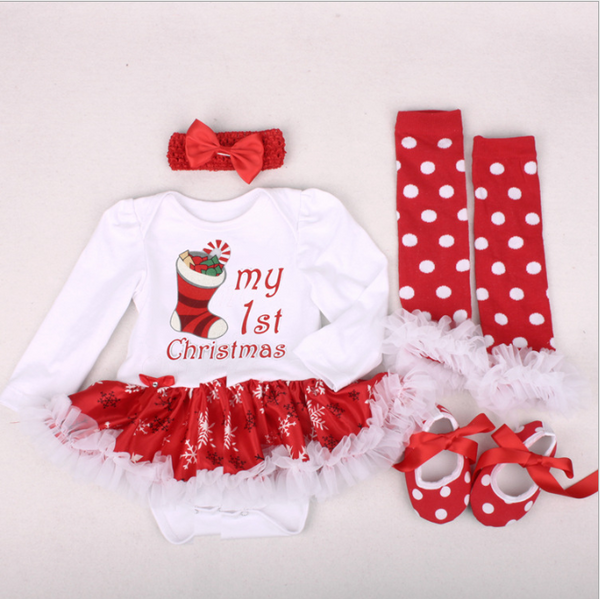 Christmas long sleeved dress 4pcs set