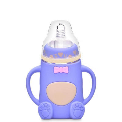 Baby silicone glass bottle