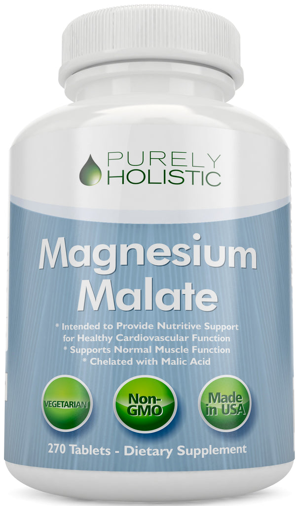 Magnesium Malate 400mg Tablets , 270 Vegetarian Tablets, Chelated Magnesium Supplement with Malic Acid