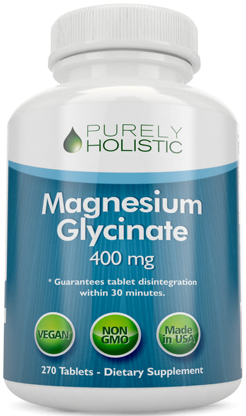 Magnesium Glycinate 400mg - 100% More 270 Magnesium Tablets, Non Buffered Chelated, Vegan and Vegetarian
