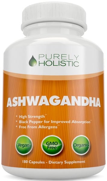 Organic Ashwagandha Capsules with Black Pepper, 180 Capsules 3 Month Supply