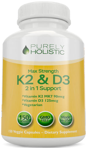 Vitamin D3 125mcg 5000IU and Vitamin K2 90mcg MK7 - 4 Month Supply 150 Capsules