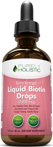 Biotin Liquid Drops 10000mcg with Vitamin D3, 120 Servings, Vegan