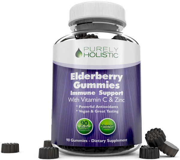 Elderberry Gummies, 90 Vegan Sambucus Elderberry Gummies with Added Vitamin C and Zinc