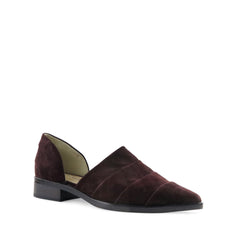 Kim, plum suede, Chaos & Harmony, New Zealand fashion, D'Orsay, flats