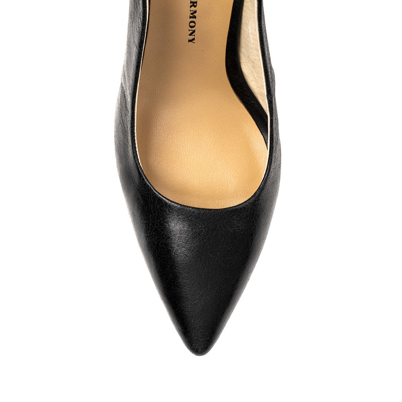Chaos & Harmony AURORA pump black leather high heel for women - top veiw