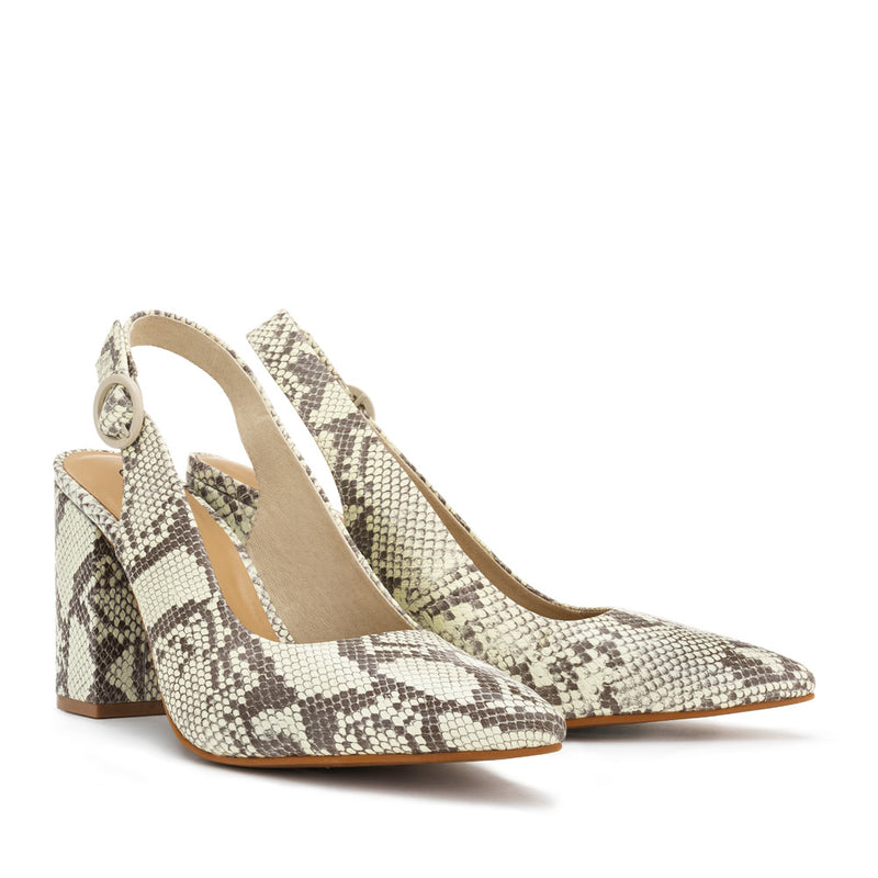 Chaos & Harmony AURORA pump Natural snake patterned leather high heel for women - Pair