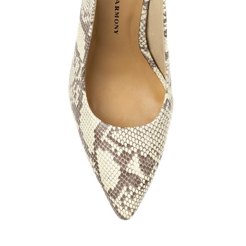 Chaos & Harmony AURORA pump Natural snake patterned leather high heel for women - top veiw