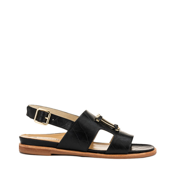 Chaos & Harmony Bounty Sandal - Black leather sandal for women - outside profile