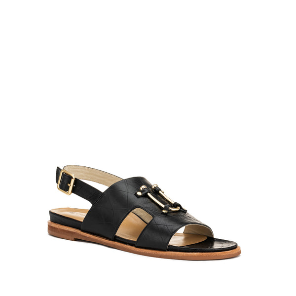Chaos & Harmony Bounty Sandal - Black leather sandal for women - front angle
