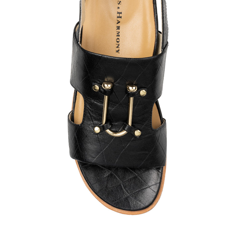 Chaos & Harmony Bounty Sandal - Black leather sandal for women - top view
