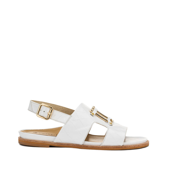 Chaos & Harmony Bounty Sandal - White leather sandal for women - outside profile