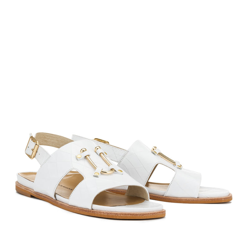 Chaos & Harmony Bounty Sandal - White leather sandal for women - Pair