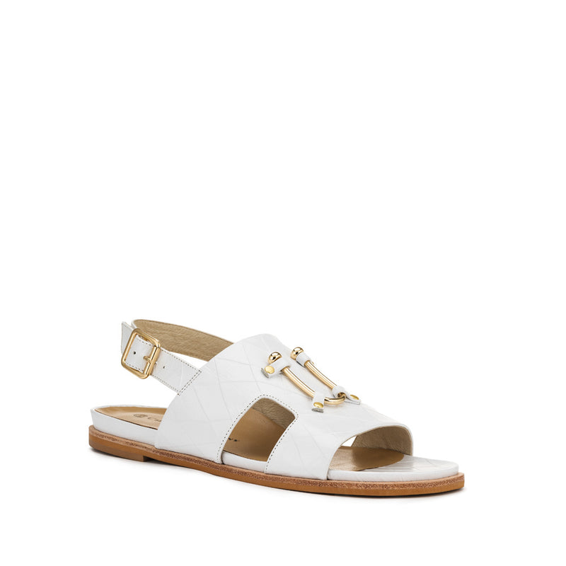 Chaos & Harmony Bounty Sandal - White leather sandal for women - front angle