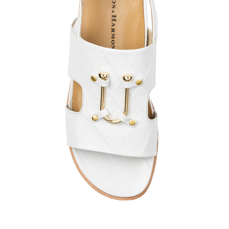 Chaos & Harmony Bounty Sandal - White leather sandal for women - top view