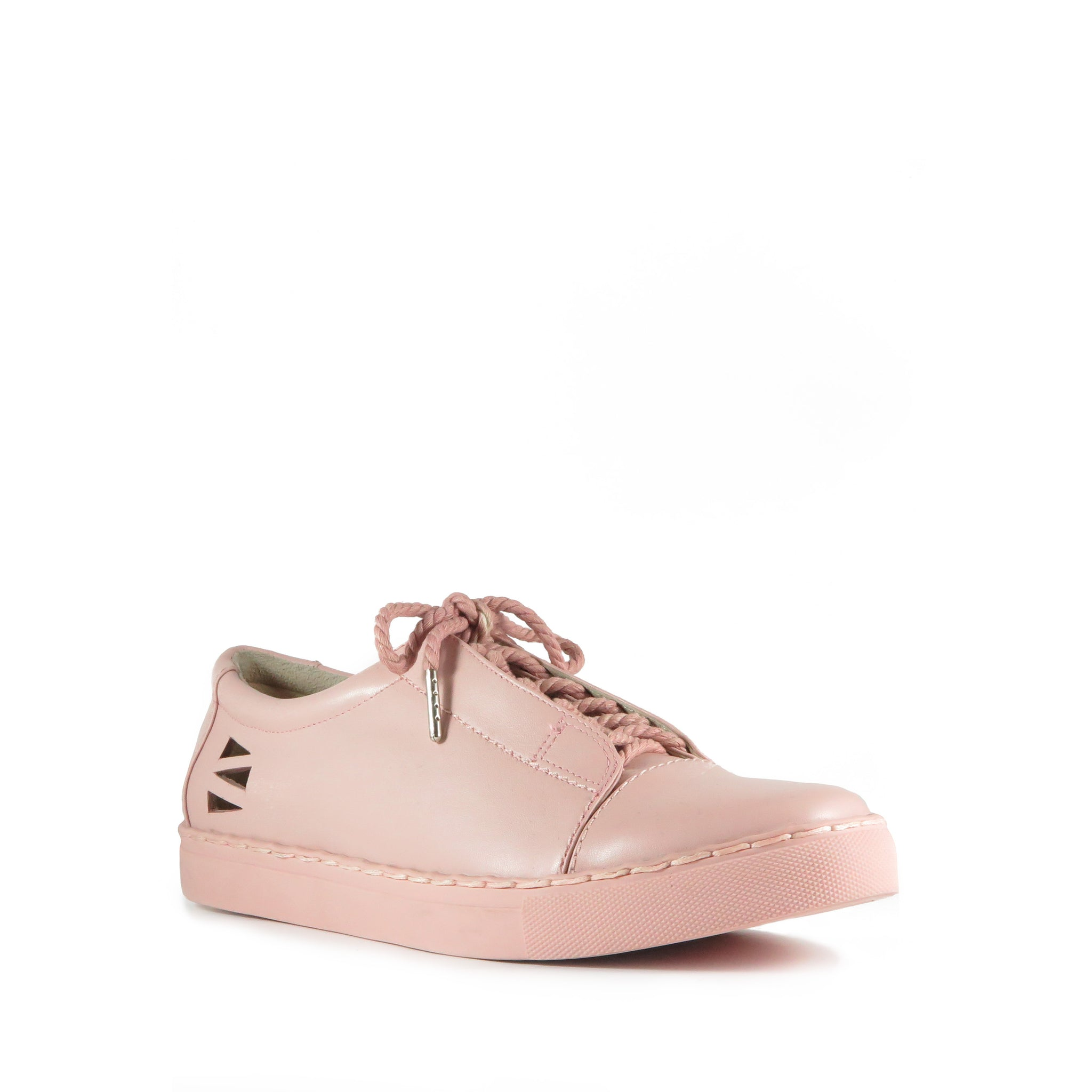 Energy, pink leather sneakers, pink sole, pom pom, Chaos & Harmony, Shibusa, New Zealand fashion