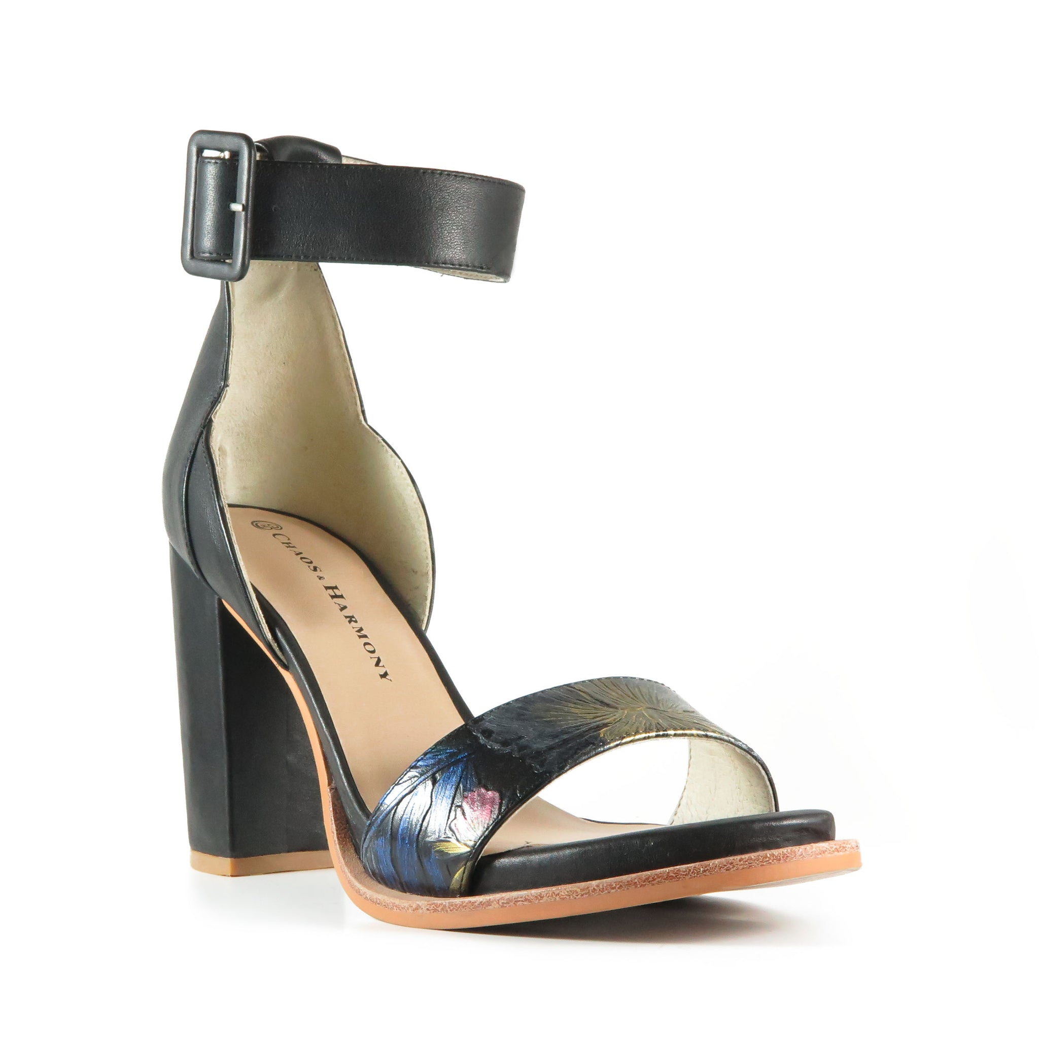 Freedom, high heel sandal, black leather block heel, hand-painted leather, Chaos & Harmony, New Zealand fashion, Shibusa
