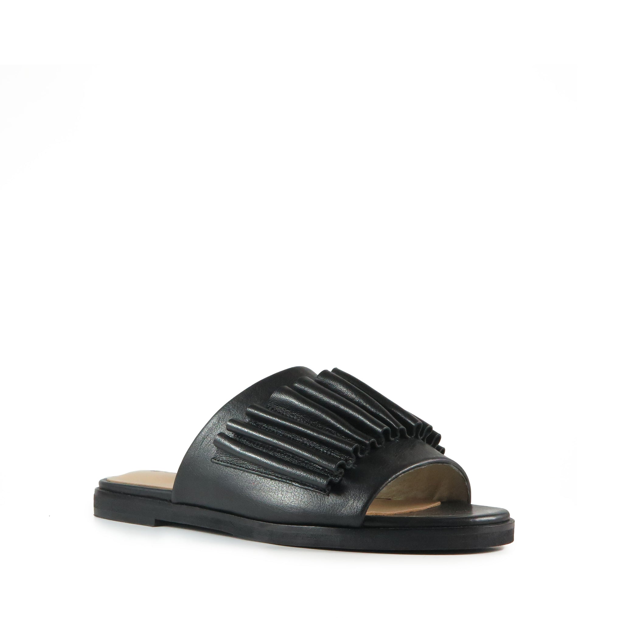 Gentle, black leather slide, gathered leather detail, Chaos & Harmony, Shibusa, New Zealand fashion