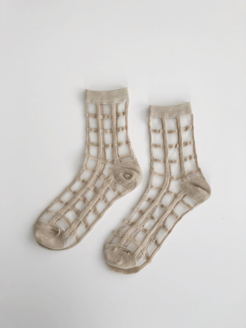 Grid Sock - Beige