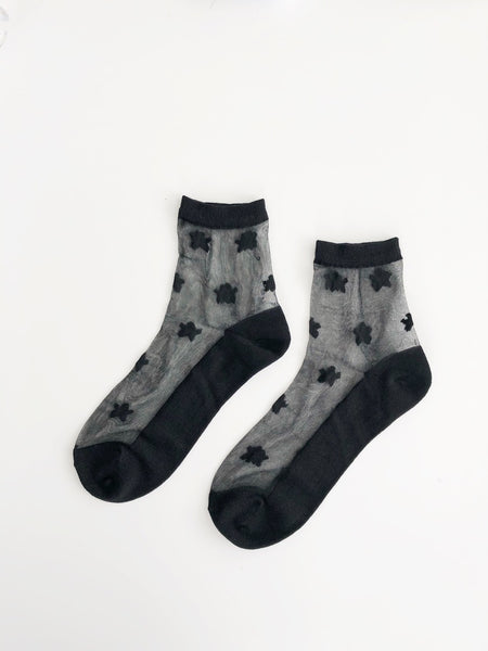 Sheer Star Sock - Black