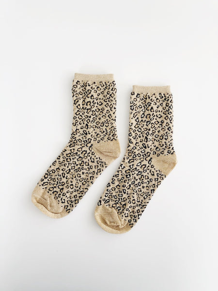 Leopard Sparkle Sock - Gold