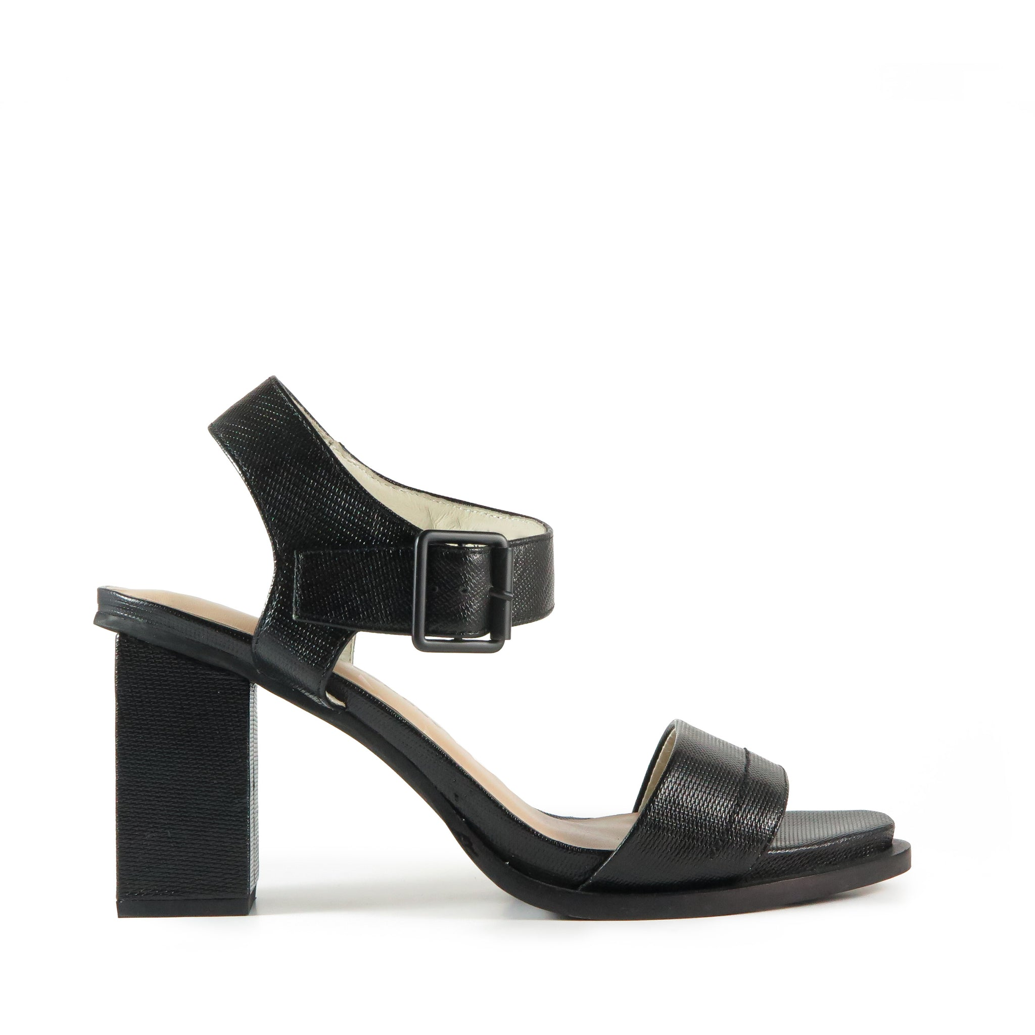 High heel sandal, black textured leather, Chaos & Harmony, New Zealand fashion, Shibusa
