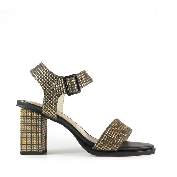 High heel sandal, gold embossed square leather, Chaos & Harmony, New Zealand fashion, Shibusa